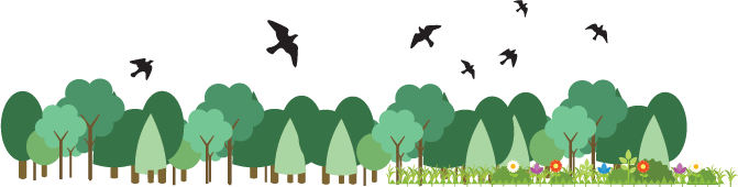 illustration of trees and birds