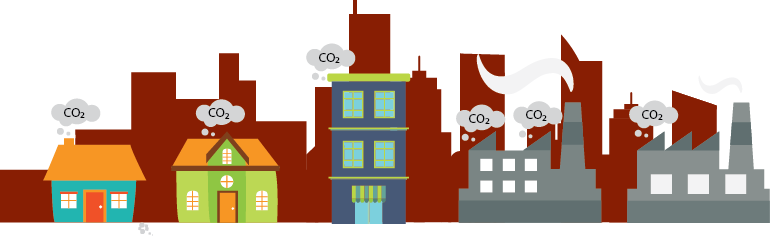 illustration of homes and businesses emitting carbon