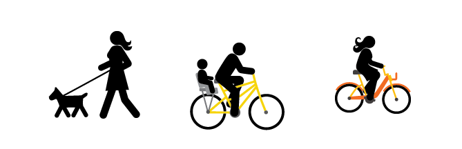 illustration of people walking dogs and riding bicycles