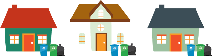 illustration of houses with recycling bins