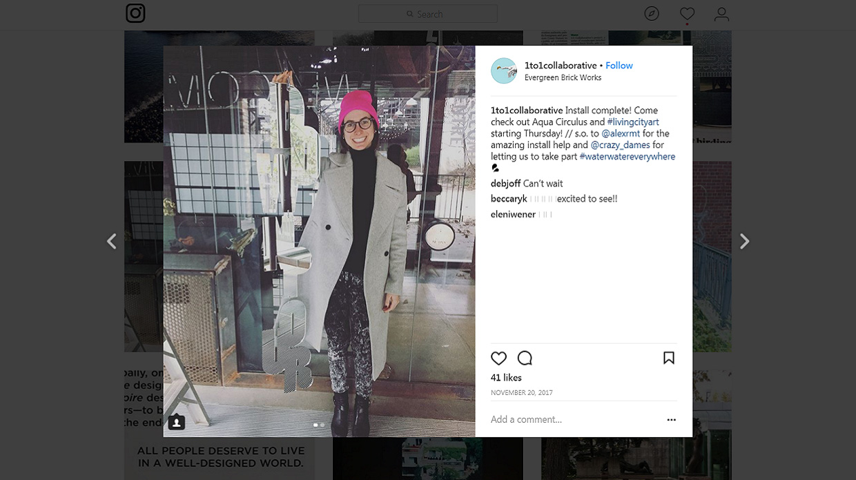 social media post about water installation at Living City Art Exhibition