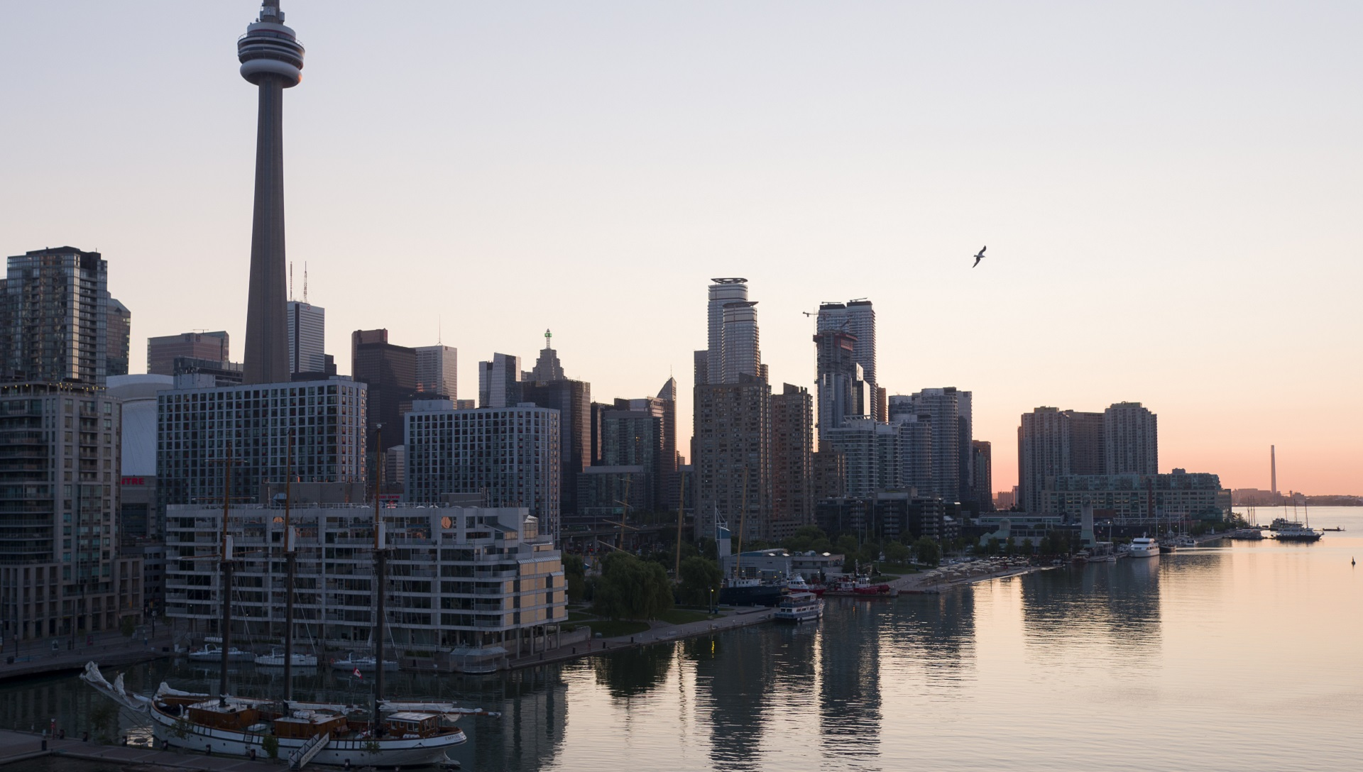Toronto waterfront skyline at sunset