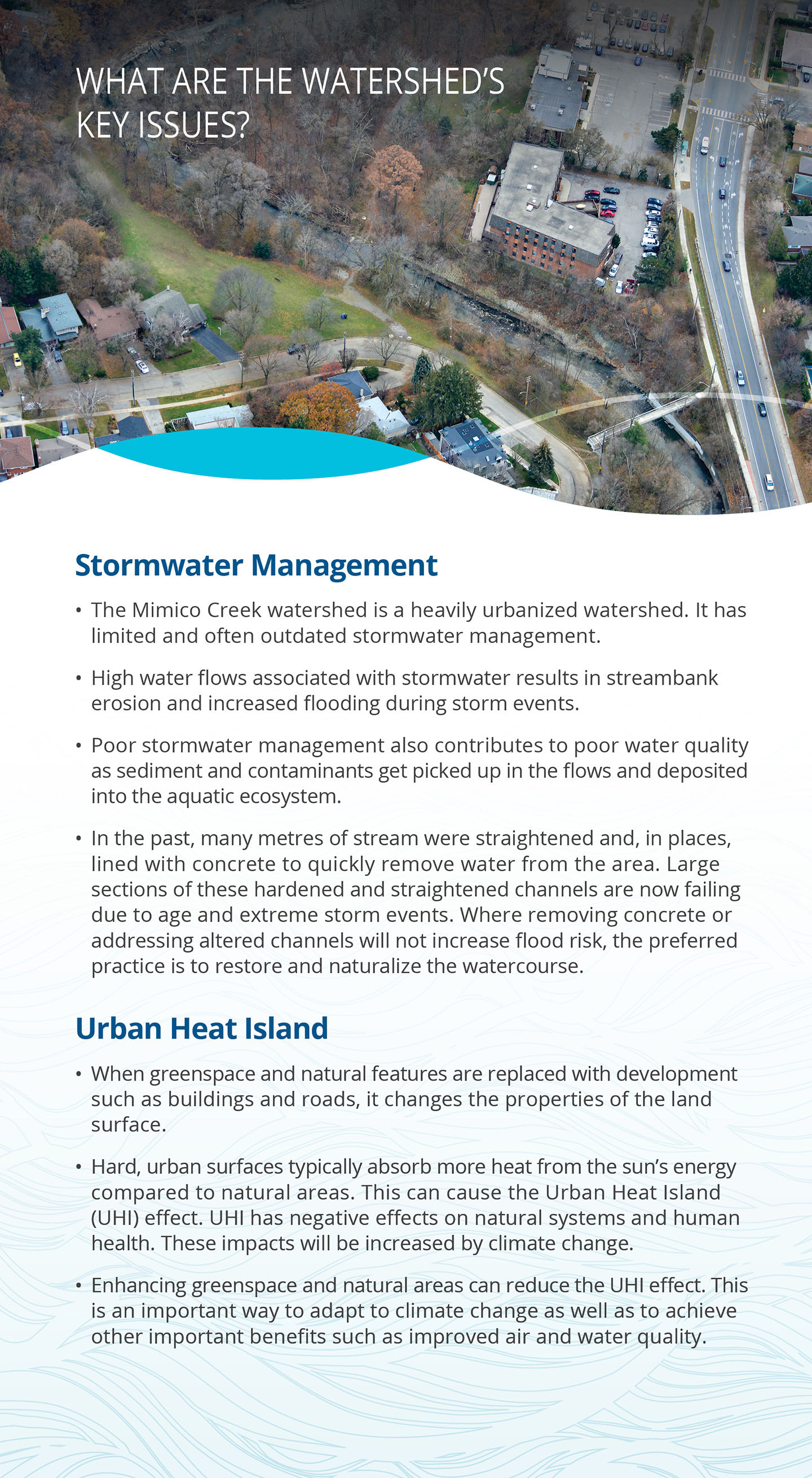 key issues panel of Mimico Creek watershed report card