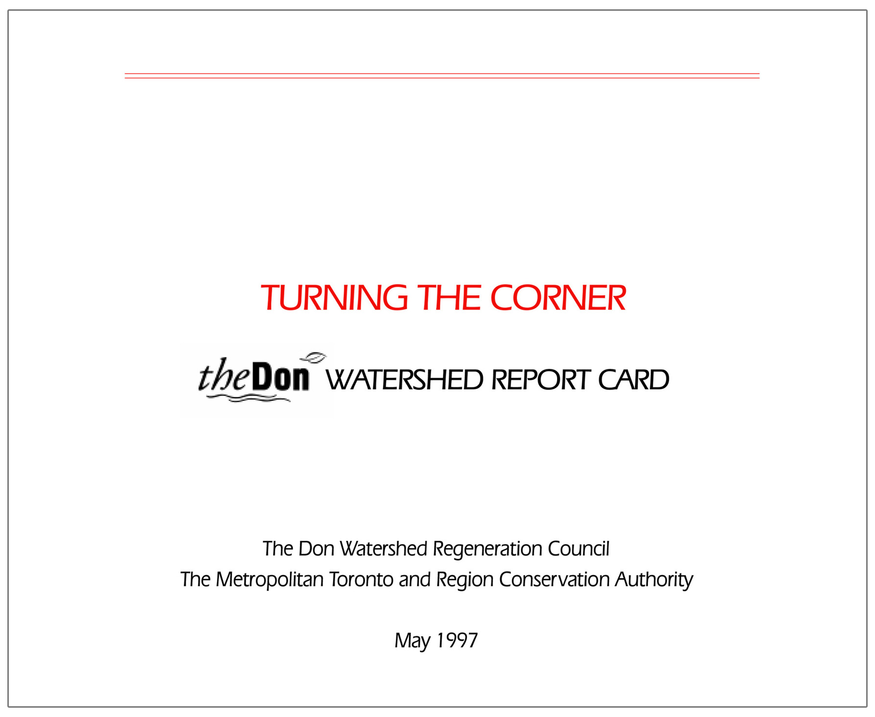 cover of 1997 Don River watershed report card