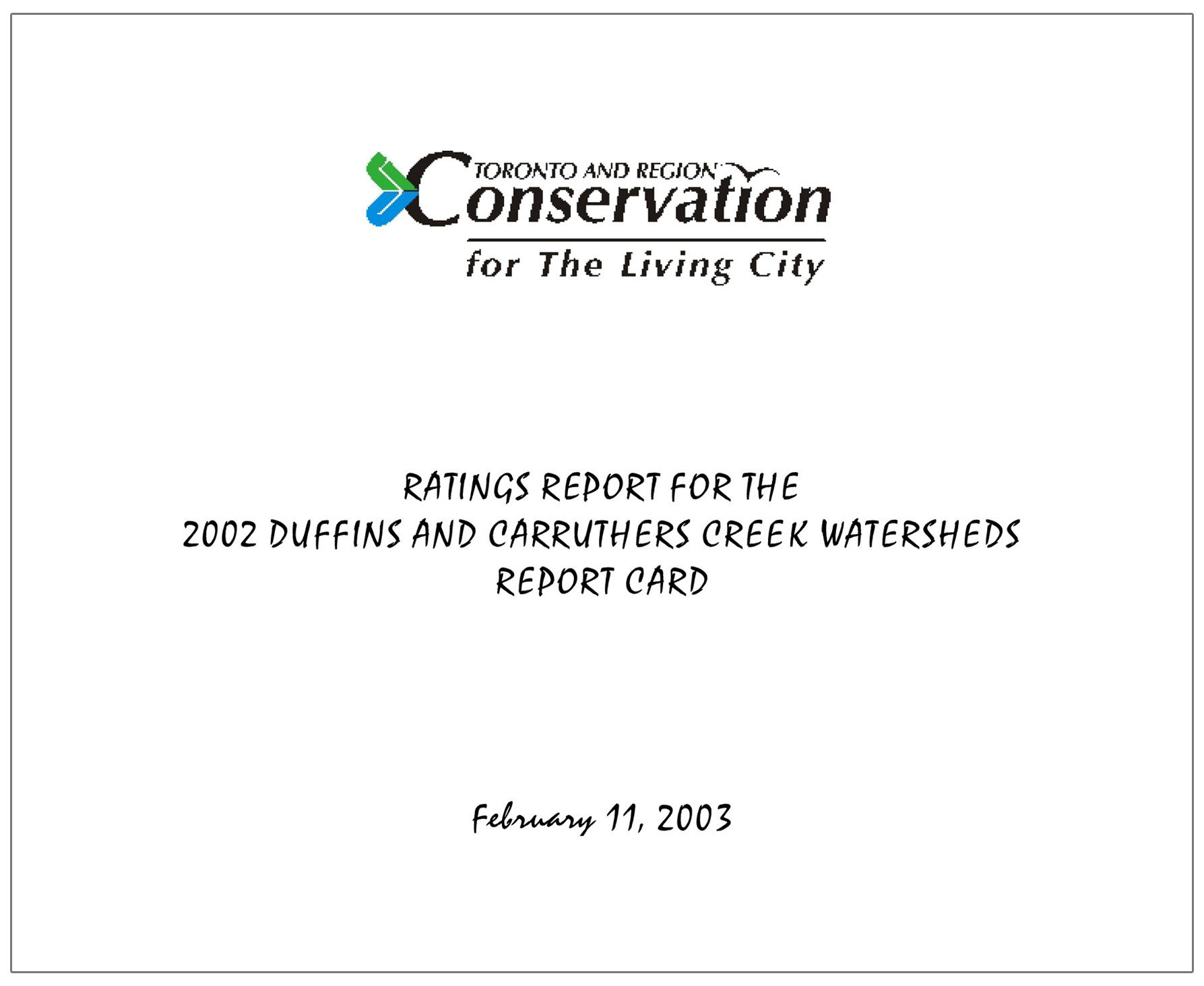 cover of 2003 Duffins Carruthers report card