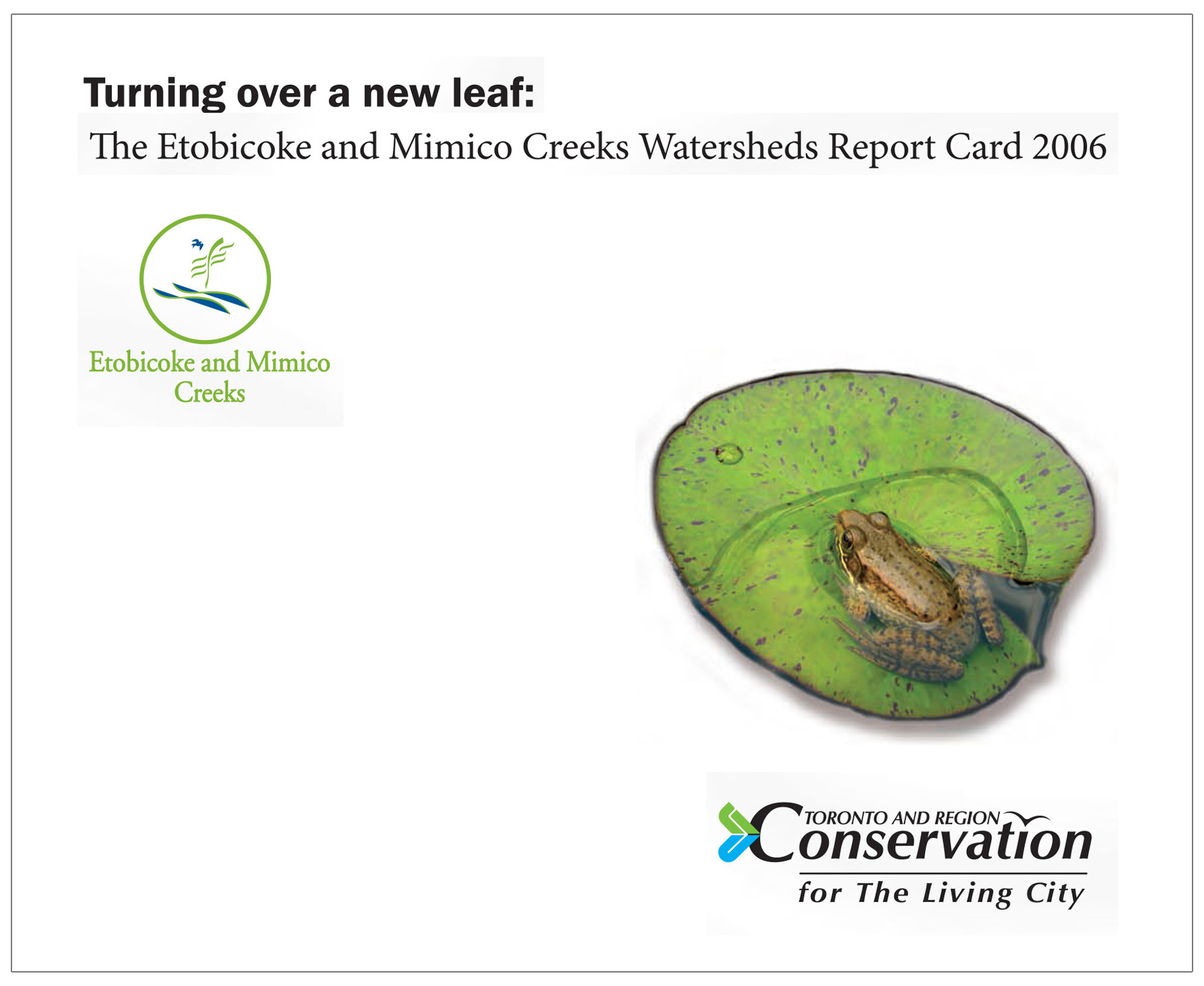 cover of 2006 Etobicoke Mimico watersheds report card