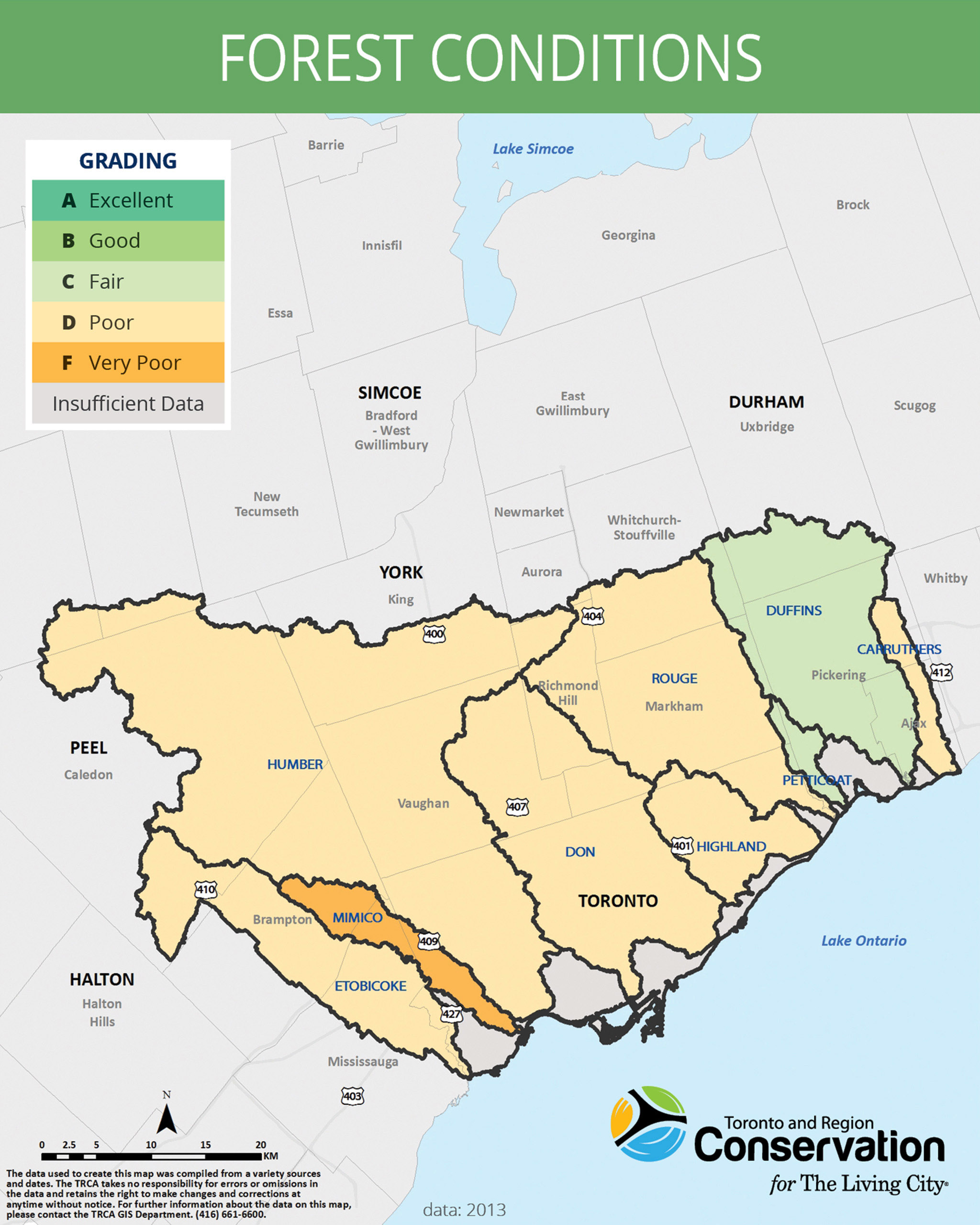 map of forest conditions in TRCA jurisdiction