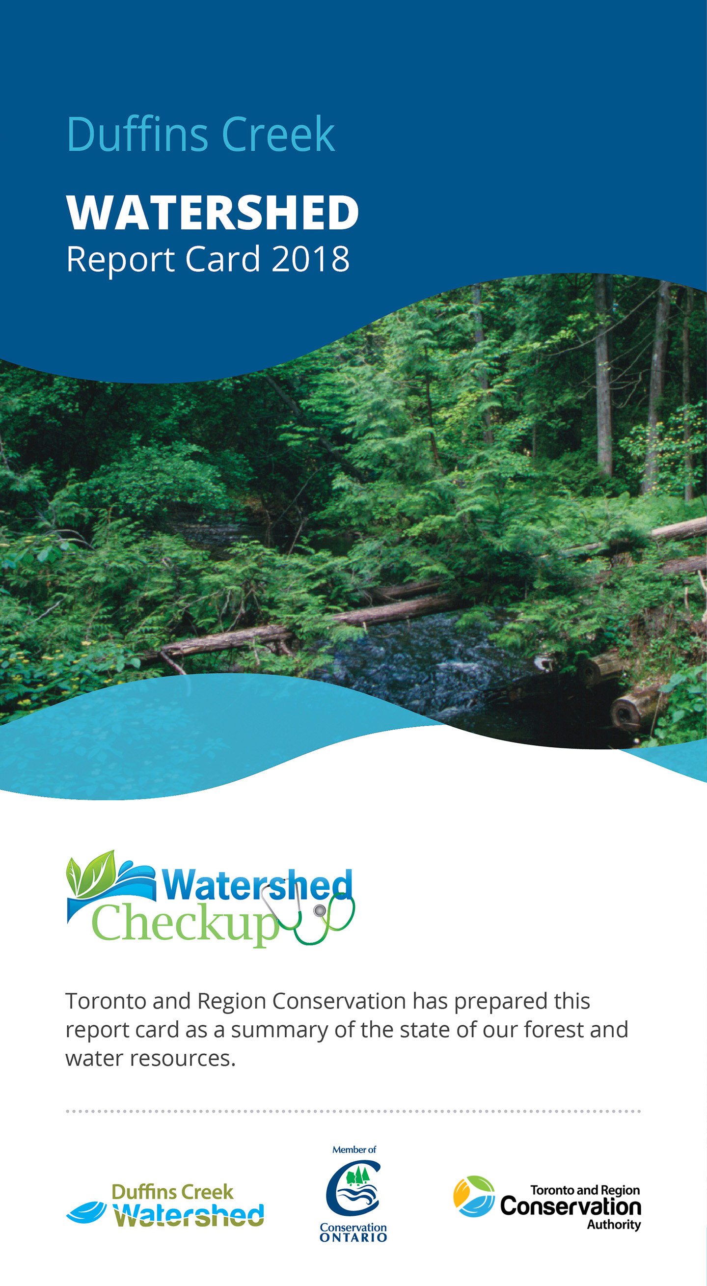 front panel of Duffins Creek watershed report card