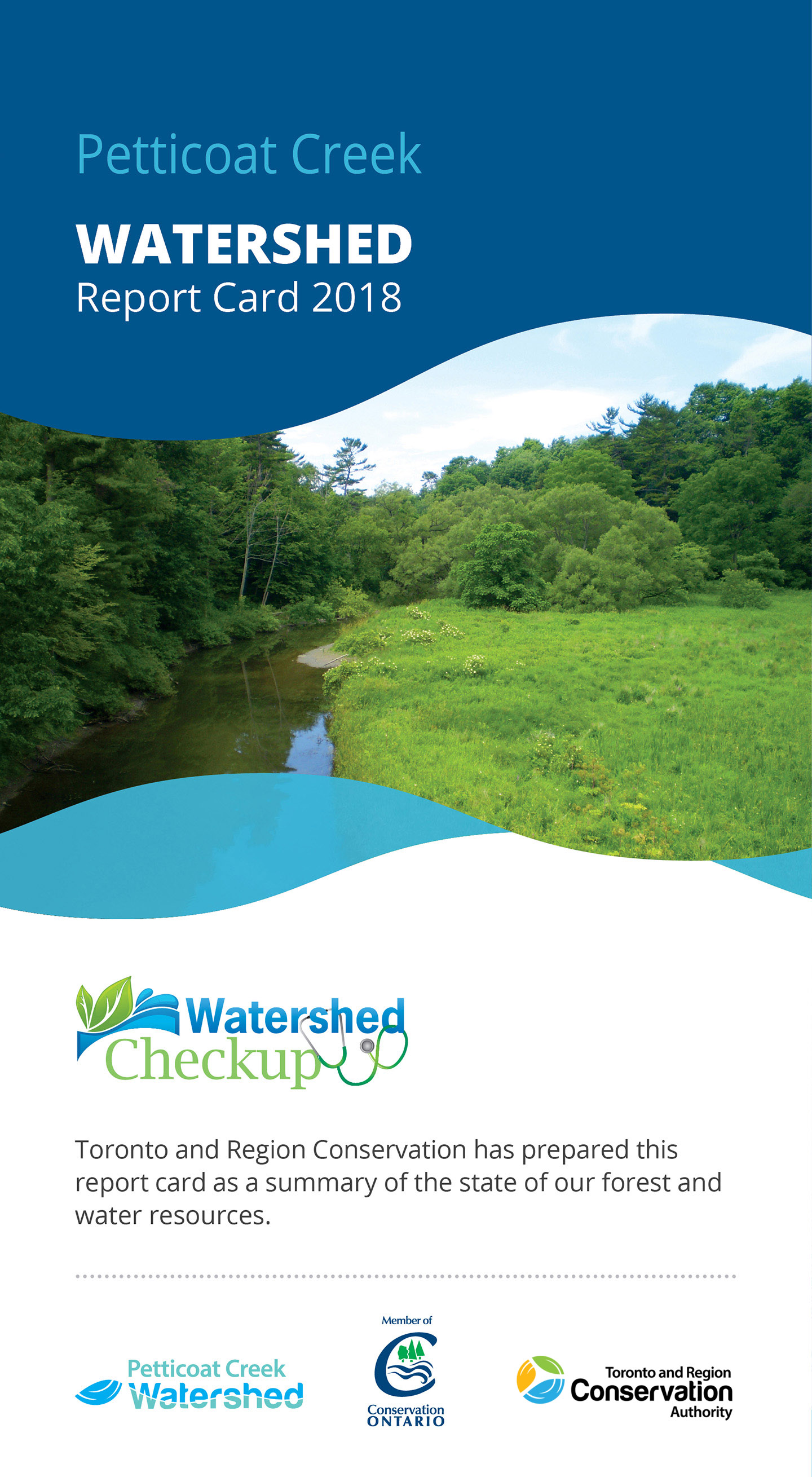 front panel of Petticoat Creek watershed report card